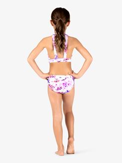 Girls Purple Flower Lace Dance Bra Top