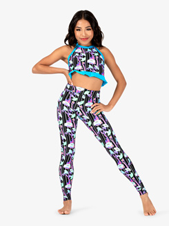 Girls Neon Flowers Dance Leggings