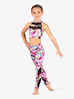 Girls Neon Circles Print Dance Bra Top