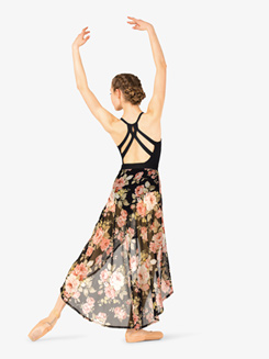 Womens Floral Print High Low Dance Skirt