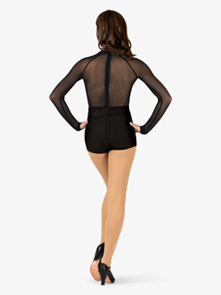 Womens Performance Plunging Mesh Long Sleeve Thong Bodysuit