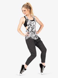 Womens Floral Print Braided Back Fitness Tank Top