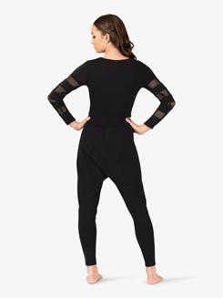Womens Mesh Insert Long Sleeve Dance Crop Top