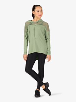 Womens Mesh Insert Long Sleeve Dance Sweater