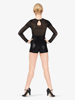 Womens Performance Stripe Mesh Long Sleeve Bodysuit