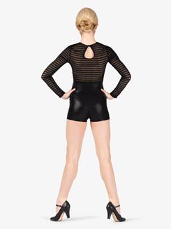 Womens Performance Striped Mesh Long Sleeve Bodysuit