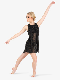 Womens Performance Glitter Mesh Tank Dress