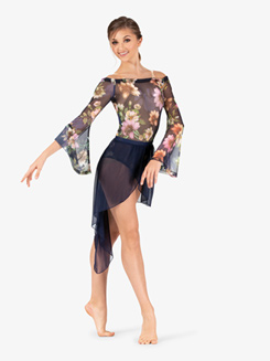 Womens Performance Sheer Floral Long Sleeve Bodysuit