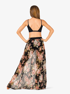 Womens Open Front Floral Dance Skirt