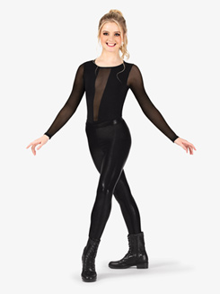 Womens Performance Plunging Mesh Long Sleeve Bodysuit