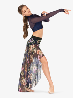 Womens Sheer Floral Long Dance Skirt