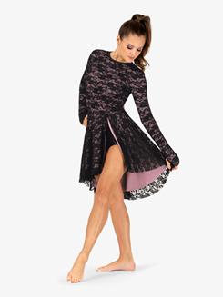 Womens Lace Long Sleeve Asymmetrical Lyrical Dress