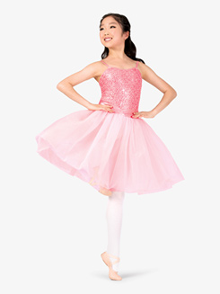 Girls Performance Sequin Lace Juliet Camisole Tutu Dress