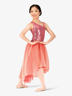 Girls Two-Tone Sequin Performance Dress