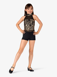Girls Geometric Mock Neck Performance Shorty Unitard