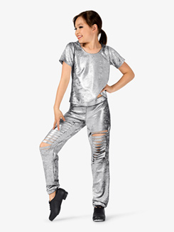 Girls Distressed Metallic 2-Piece Hip Hop Set