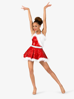 Womens Holiday Cheer Halter Character Dance Costume Dress