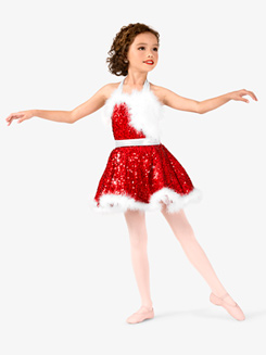 Girls Holiday Cheer Halter Character Dance Costume Dress