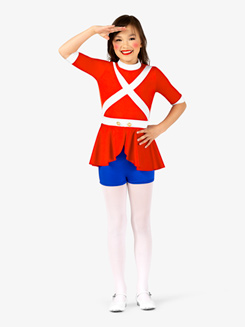 Girls Toy Soldier Character Dance Costume Shorty Unitard