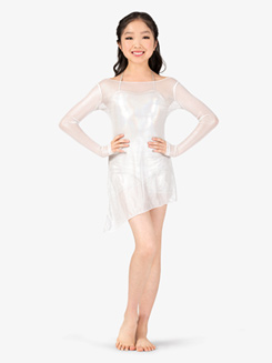 Girls 2-Piece Mesh Dress and Metallic Shorty Unitard Set