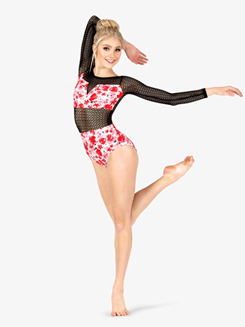 Womens Floral Print Mesh Long Sleeve Leotard