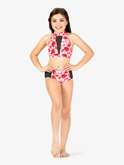 Girls Floral Print Mesh Dance Briefs