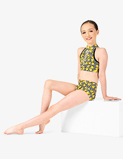 Girls Lemon Print Dance Halter Bra Top