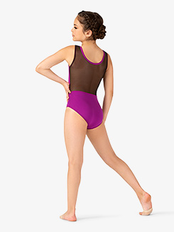 Girls Two-Tone Mesh Insert Tank Leotard