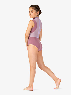 Girls Two-Tone Mesh Mock Neck Tank Leotard
