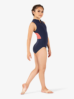 Girls Two-Tone Mesh Front Zipper Tank Leotard