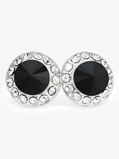 18mm Silver Plated Rhinestone Post Earrings