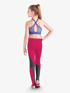 Girls Two-Tone Stirrup Dance Leggings
