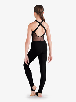 Girls Floral Mesh X-Back Dance Unitard