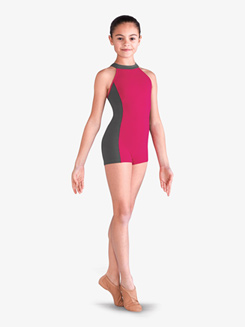 Girls Contrast Multi-Strap Back Dance Shorty Unitard