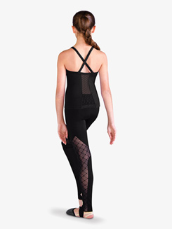 Girls Diamond Flock Mesh Stirrup Dance Leggings