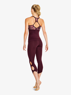 Womens Cutout Cropped Dance Leggings