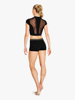 Womens Striped Waistband Dance Shorts