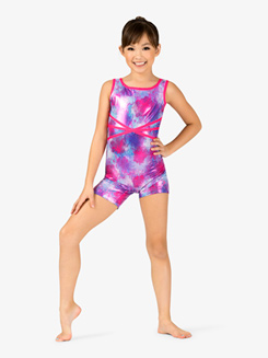 Girls Gymnastics Blurred Floral Print X-Back Tank Shorty Unitard