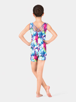 Child Metallic Asymmetrical Gymnastics Tank Shorty Unitard