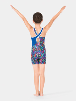 Child Printed Gymnastics Tank Shorty Unitard