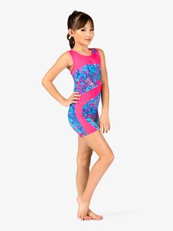 Girls Gymnastics Floral Print Tank Shorty Unitard