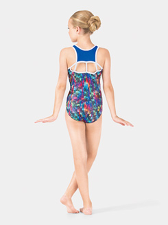 Girls Painted Patchwork Gymnastics Tank Leotard