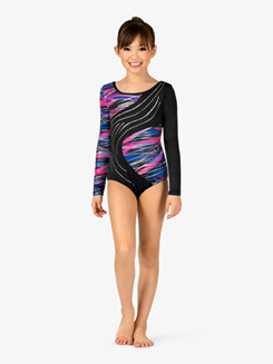 Girls Gymnastics Foil Dots and Streaks Back Cutout Long Sleeve Leotard