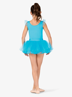 Girls Foil Flutter Sleeve Tulle Ballet Dress