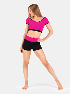Adult Color Block Cap Sleeve Crop Top