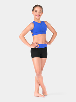 Girls Color Block Banded Dance Short
