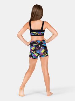 Girls Banded Leg Tattoo Rose Dance Shorts