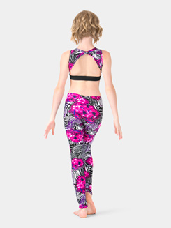 Girls Floral Zebra Printed Ankle Leggings