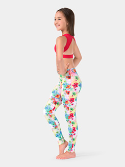 Child Rainbow Floral Ankle Leggings