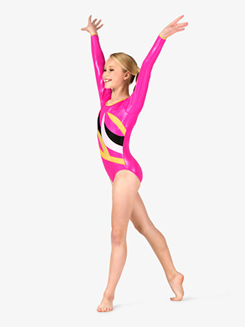 Girls Gymnastics Contrast Spliced Long Sleeve Leotard